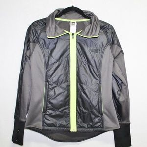 North Face jacket soft shell zip up puffer neon